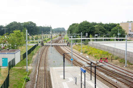 Many railway tracks and platform at station Dieren in the Netherlands Stockfoto