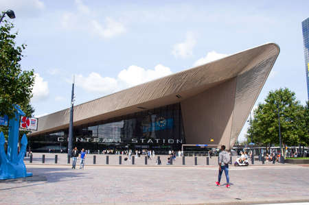 Rotterdam, Netherlands - August 24,2021: Facade of the modern building of central station Rotterdam