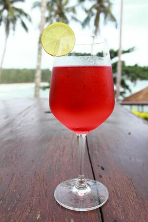 Red lemon soda drinks in the summer  photo