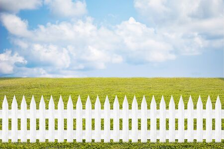 could: beautiful grass field and wood fence use for natural background Stock Photo