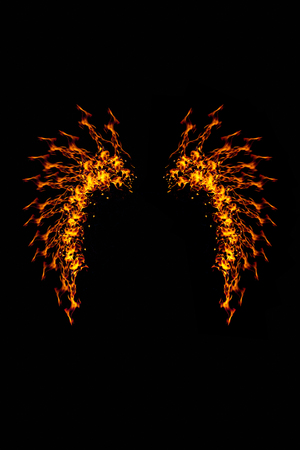 abstract fire: Wings fire of imagination and creativity wings made of fire Beauty fairy tale.On a black background abstract style.