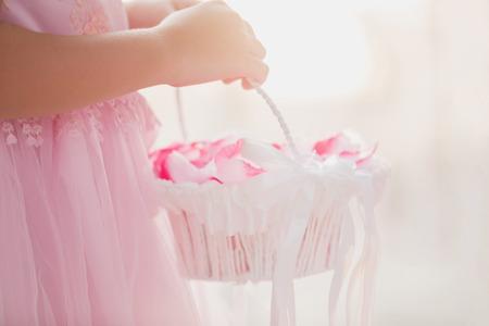 Flower Basket Wedding Ceremony Blurred Background Sweet Tone Stock