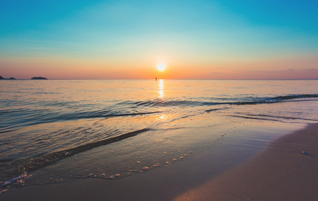 Beautiful ocean landscape at sunset time.Welcome High Season