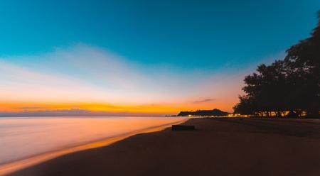 Beautiful ocean landscape at sunset time. Panorama