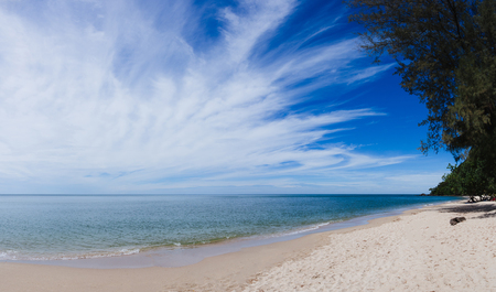 Landscape beautiful sand beach. Panorama Stock Photo