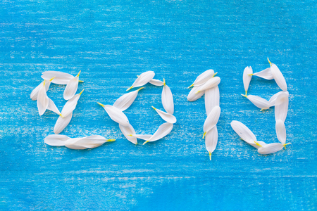 2019 from the white flower petals. On a blue plank background Stock Photo - 125712599