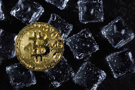 Bitcoin coins on ice Business concept ideas and technology