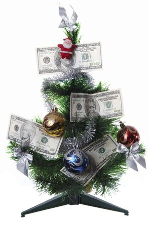 Christmas tree decorated with money, isolated