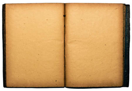 Old style beautiful book with clean, fine textured pages. Isolated on white Stock Photo