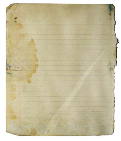 Old notebook lined page with big stain and fold. Isolated on white  Stock Photo