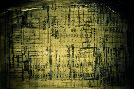 Mist tone image. Grunge dark engineering drawing photo