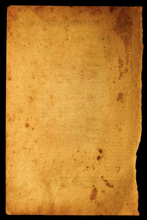 Rusty spoted old paper with the ragged lower part. Image on black Stock Photo