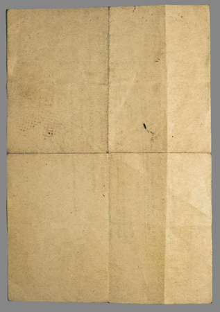 Vintage crumpled retro style paper with many folds. Image isolated on grey