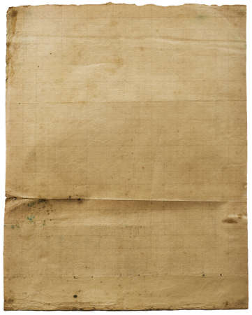 spoted: Old lined grunge vintage paper with folds. Image on white. See full size!