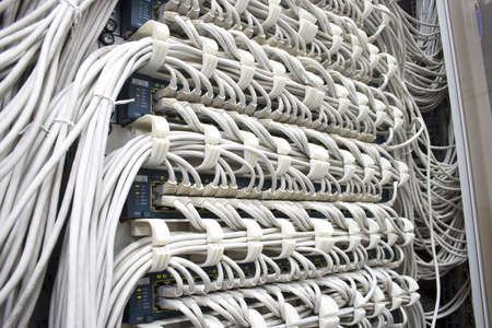 Futuristic big computer server with many cables and plugs Stock Photo