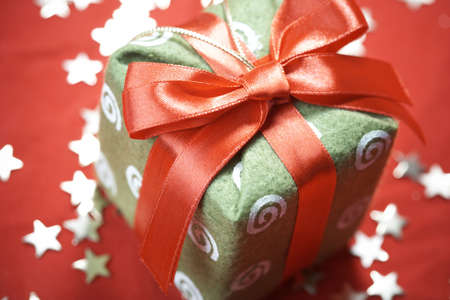 Red new-year gift background with christmass decorations Stock Photo - 3936936