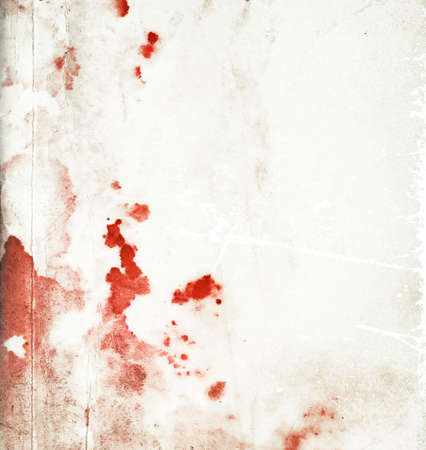 Abstract bloody stained paper background with red stains and scratches Stock Photo