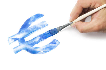 Hand with brush painting euro currency symbol from blue sky texture. Business conceptual image: devaluation, inspiration or making money concept.