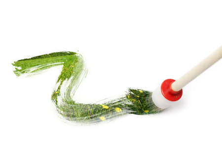 Magical brush painting a green summer landscape with grass and flowers over white background. Use in your design! Stock Photo - 5355912