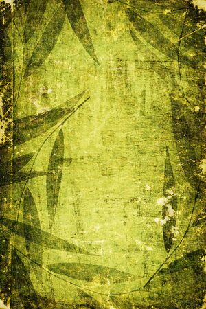 Green colored grunge artistic background with shabby texture and framed with floral pattern Reklamní fotografie