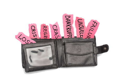regression: Black leather purse with loss, bankruptcy, crisis, regression, crash, failure inscriptions  Design element on white background with shadow