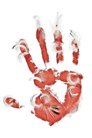 bloody hand print: Design element on white  Birds killing concept  Bloody palm imprint with flags on white
