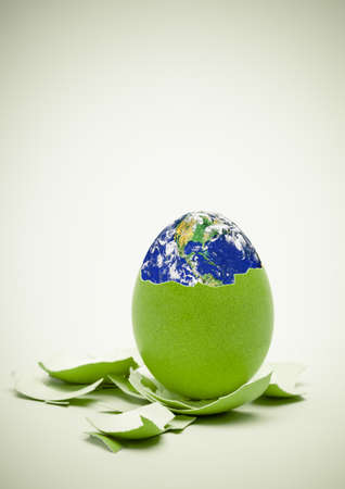 Conceptual image  Birth of world concept  Ecology, Easter, new beginnings concept  Focus on egg  Stock Photo