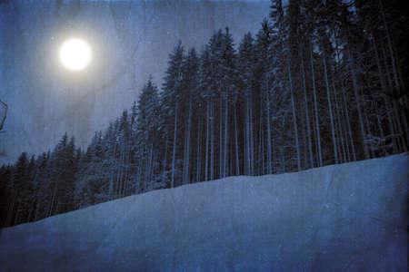 luz de luna: Extraño paisaje de invierno en colores azul oscuro con luz de luna