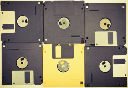 Vintage colors diskettes background  Six floppy disks Stock Photo - 16402215