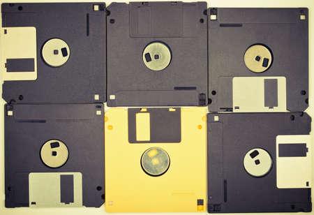 Vintage colors diskettes background  Six floppy disks Stock Photo - 16402215