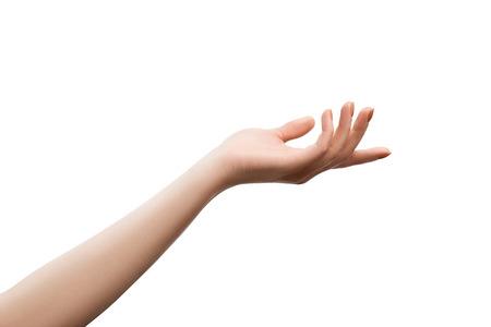 Nou geretoucheerd vrouwelijke hand geven van het krijgen van iets. Object geïsoleerd op wit met het knippen van wegen
