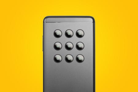 Futuristic smartphone with many (9) cameras, backside. Smartphone camera trends, evolution Stok Fotoğraf