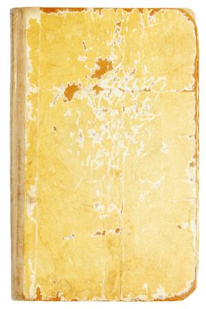 Old shabby torn book textured cover on white Imagens