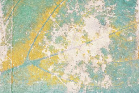 Fondo floral abstracto del grunge. Papel raído con impresión de hojas