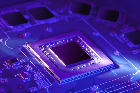 Futuristic electronic component. Modern chip (CPU or GPU) with futuristic cyber neon light. Selective focus image