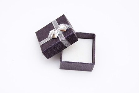 beautiful ring in a box on a white background photo