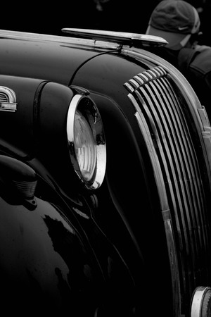 close up of front of a  vintage car Stock Photo