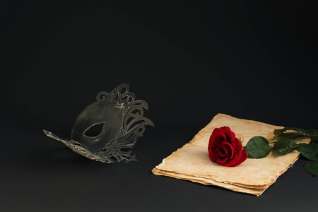 Black  stylish carnival mask and a purple rose on a gray background