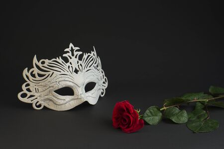 White stylish carnival mask and a purple rose on a gray background