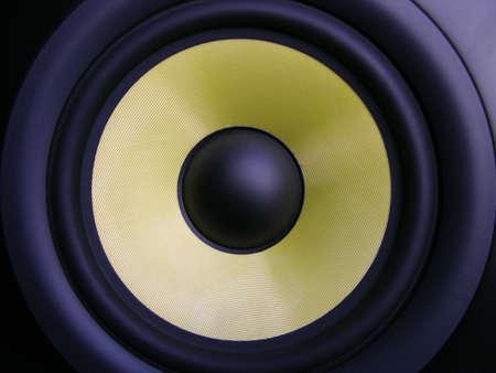 stereo subwoofer:  Golden  Membrane Speaker Stock Photo