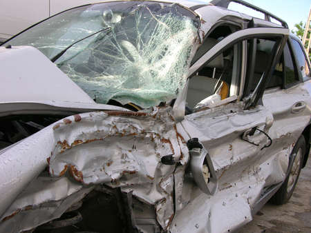 ruined:           Car Destroyed In A Crash Stock Photo