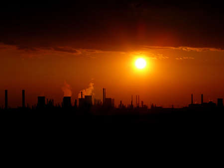 Silhouette Of Factory @ Sunset photo