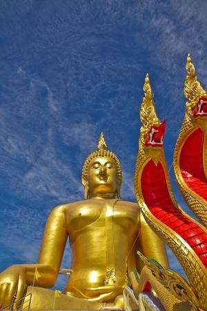 angthong:  Buddha statue with great Naga ,  Wat muang