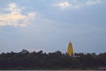 sangkhla buri: Golden pagoda at wat wangvivekkaram Sangkhla Buri Stock Photo