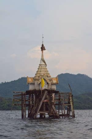 sangkhla buri: wat wangvivekkaram submerged underwater Sangkhla Buri, kanchanaburi, Unseen Thailand.