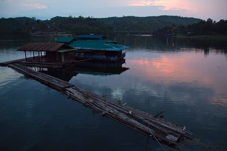 sangkhla buri: tiwilight floating house reservoirs area Sangklaburi