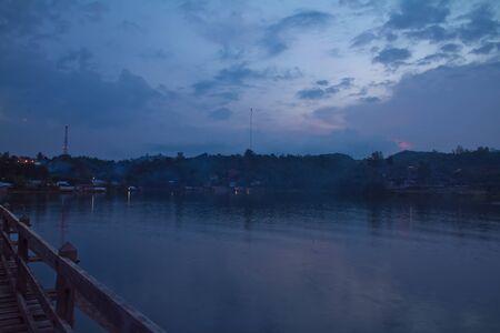 sangkhla buri: Twilight on the wooden bridge in the evening light