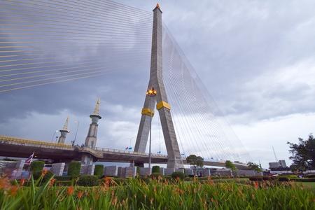 rama: Rama Vlll Bridge in evening Stock Photo