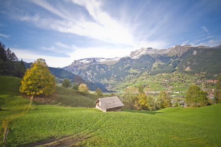 swiss alps: Small village the valley Swiss Alps