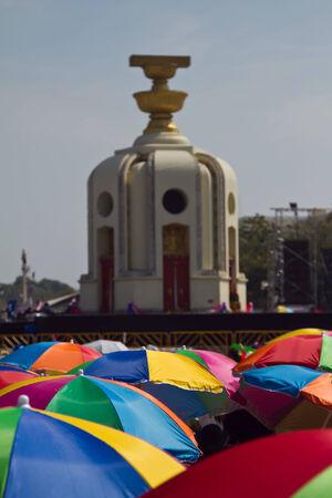 democracy monument: Umbrellas and the Democracy Monument
